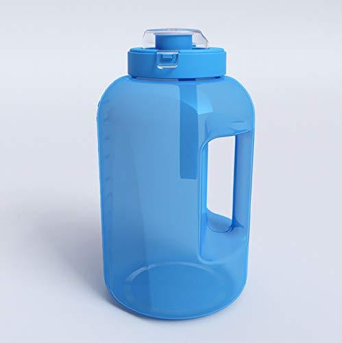 QAZW Botellas Deportivas,Botella de Agua con Marcador de Tiempo,Limpieza Fácil,Hydro Matraz Sin Bpa,Jarra Ideal para Gimnasio, Capacitación, Senderismo, Viajar, Deporte Al Aire Libre,Blue-3.8L