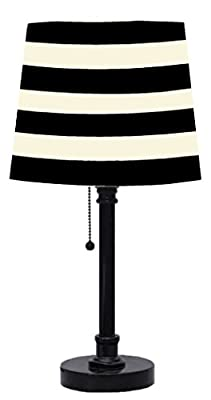 Black Table Lamp with Striped Shade