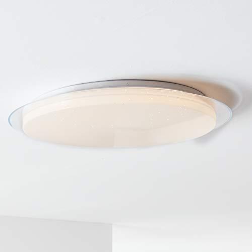 LED Wand- und Deckenleuchte 57cm, 1x 60W LED integriert, 1x 4390 Lumen, 3000-6000K, Metall/Kunststoff, weiß, dimmbar per Fernbedienung