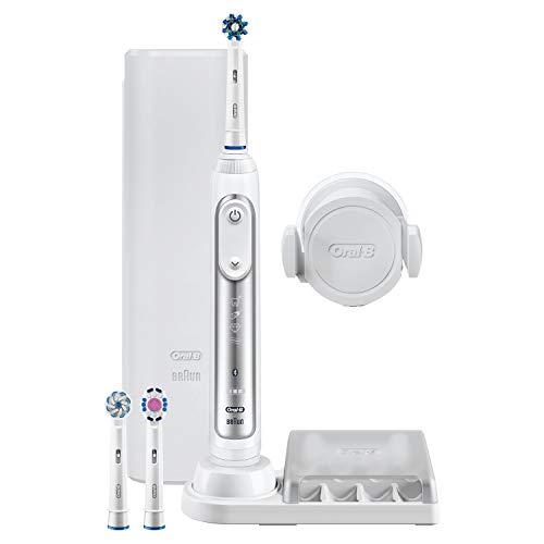 Oral-B Genius 8000N Spazzolino Elettrico Ricaricabile, 1 Manico Argento, 5 Modalita  tra cui Sbiancante e Denti Sensibili, 3 Testine di Ricambio