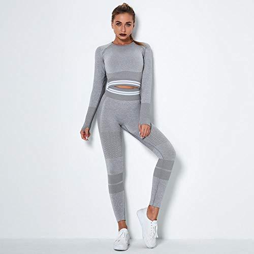 B/H Conjunto Deportivo Mujer Fitness,2 Piezas de Ropa de Yoga para Mujer sin Costuras, Camiseta de Manga Larga y Mallas-Grey_S