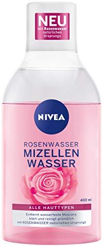 NIVEA Rosenwasser Mizellenwasser (400 ml), Gesichtsreinigung mit MicellAIR Technologie und natürlichem Rosenwasser, sanftes Mizellen Reinigungswasser