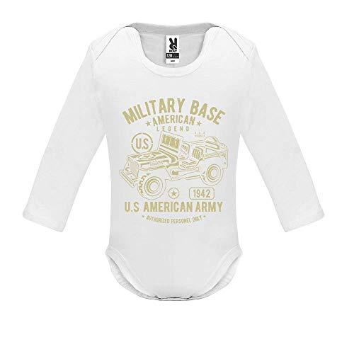 Body bébé - Manche Longue - American Army Jeep - Bébé Garçon - Blanc - 3MOIS