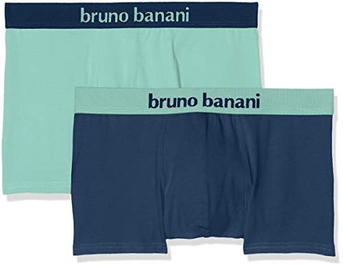 bruno banani Herren Short 2er Pack Flowing Boxershorts, Mehrfarbig (Petrol//Mint 2545), Small