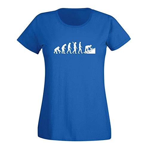 T-Shirt Evolution Dachdecker Tischler Zimmermann 15 Farben Damen XS - 3XL Geschenk Idee Handwerker Schiefer Schindeln Ziegel Solaranlagen, Größe:2XL, Farbe:Royalblau - Logo Weiss