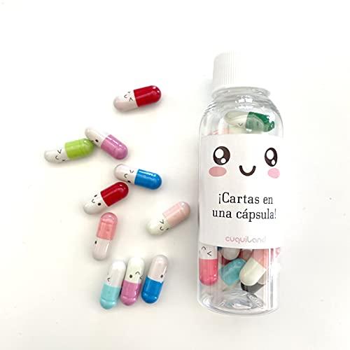 Cuquiland CPILLS - 30 cápsulas de colores con un papelito enrollado en su interior para escribir un mensaje