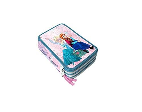 Disney Frozen 2 Astuccio 3 Zip Completo di Cancelleria Giotto con Pailettes Reversibile