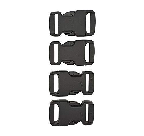 EVERYDAY SAFARI Steckschnalle 25mm 4Stk. Ersatzschnalle Klickverschluss für Rucksack, Helm - schwarz Kunststoff Verschlusschnalle Reisen, Camping, Wandern