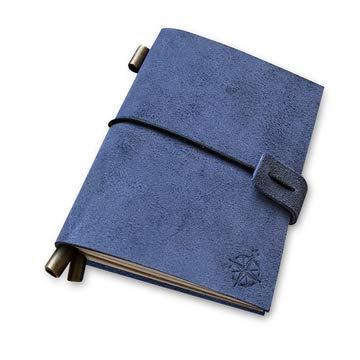 Cuaderno de Bolsillo de Piel de Azul - Diario Pequeño de Viaje Recargable - Tamaño Pasaporte Perfecto para Escribir, Regalos, Viajeros, Profesionales, Como Diario de Bolsillo Tamaño Pequeño: 13x10cm