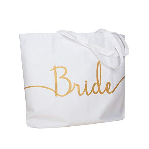 ElegantPark Bridal Shower Gifts for Bride Bag Bride Gifts Wedding Gift for Bride Tote Bag Jumbo Shoulder Bag with Pocket Gold Glitter White 100% Cotton