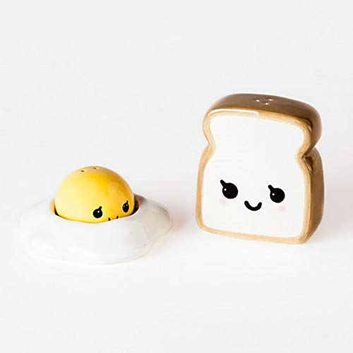 Ceramic Egg and Toast Salt and Pepper Shakers