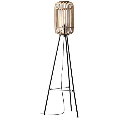 BRILLIANT lamp Woodrow lámpara de pie tres patas marrón claro  1x A60, E27, 60W, adecuado para lámparas estándar (no incluidas)  Escala A ++ a E  Con interruptor de pie