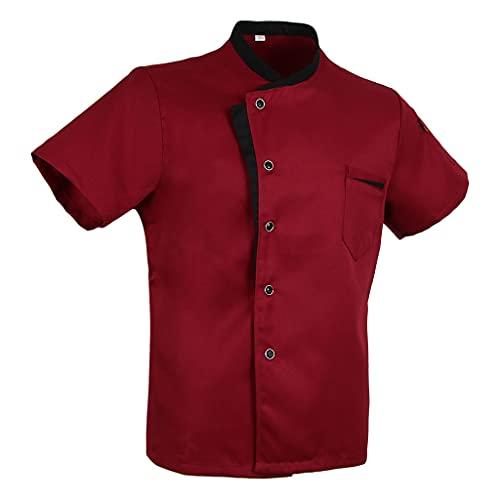 Baoblaze Camisa Mezclilla Unisex Chef Chaqueta Arrugas Resistente Confortable Mangas Cortas Camiseta Cocina Uniforme Emocionante - L rojo, como se describe