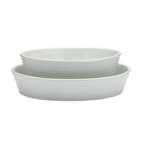 White Porcelain Oven Dishwasher Freezer Microwave Safe, Set of 2 Oval Baking Dishes