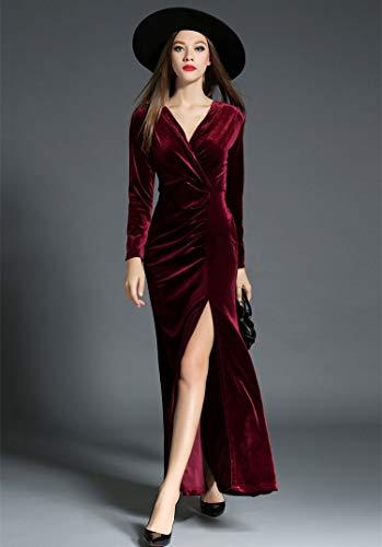 QUNLIANYI Abendkleid tüll lang Herbst Winter Abendgesellschaft Kleider Samtkleid Frauen Elegant Geraffte V-Ausschnitt High Split Maxi-Kleid Vestido Longo S Burgund