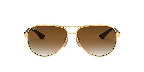 Ray-Ban Carbon Fibre Gafas de sol, Aviador, 58, Multicolor (marco: dorado / gris, lentes: gradiente marrón claro 001/51)