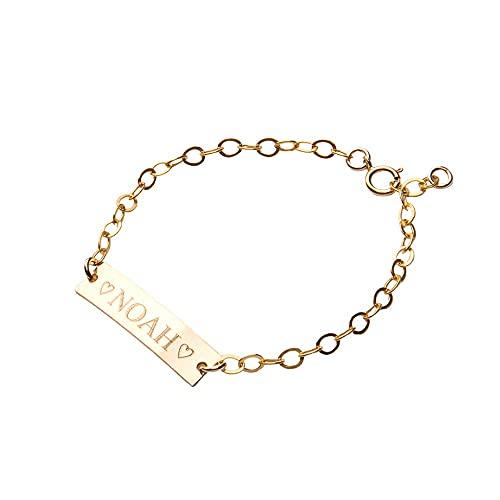 Personalized Baby Name bracelet, Adjustable Baby Toddler Child ID Bracelet, Personalized Girl Boy Gift, 14K Gold Filled, 14K Rose Gold Filled, Sterling Silver (CG277B_1X.25).