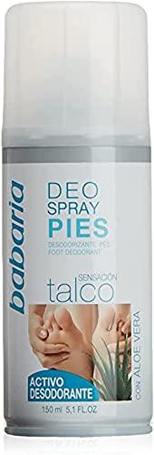 Babaria para Pies Desodorante Spray para Pies con Talco, Blanco, 150 Mililitros