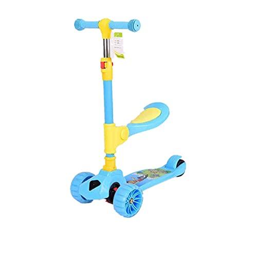 QBLDX Scooter de 3 Ruedas, Patinete 2 en 1 con Asiento Plegable y Ruedas Intermitentes, Altura Ajustable, Un Regalo para Niños de 1 a 8 años