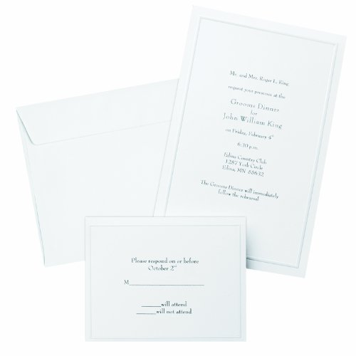 Gartner Studios Border Wedding Invitation Kit, Pearl White, 50-Count (61001)