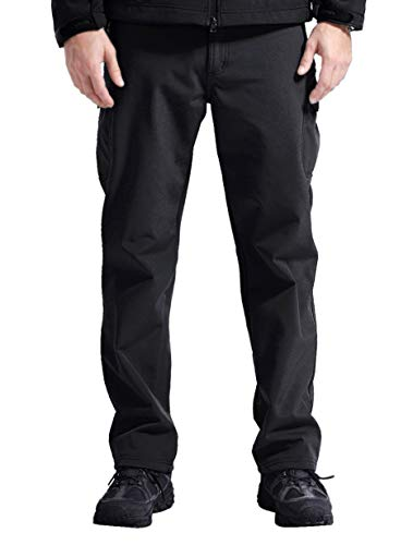EXEKE Men's Thermal Hiking Pants Waterproof Ski Pants with Fleece Lined 211-Black/4XL