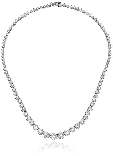 Platinum Plated Sterling Silver Riviera Necklace set with Graduated Round Cut Swarovski...
