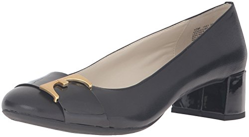 Anne Klein Women's Hastobe Leather Dress Pump, Black, 9.5 M US