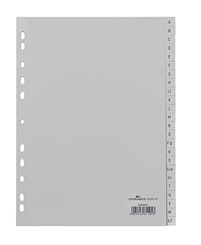 Durable Register A -Z, DIN A4, grau, PP, Universallochung, 24-teilig (20er Pack)