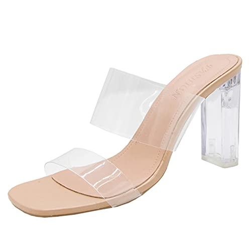 YHCS Tacones Altos Transparentes Mujeres Sandalias Sandalias Sandalias Verano Zapatos Mujer Claro Alto Bombas Boda Jalea Tacones Zapatillas