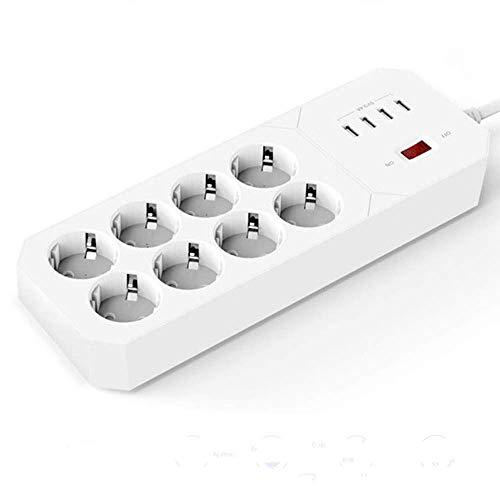NLRHH Arrastre Línea Línea Tablón Múltiple Power Strip Protector de sobretensiones 8 Outlets Enchufe Total de Enchufe con Cargador USB 1.8m Cable de extensión para computadora Smartphone Peng