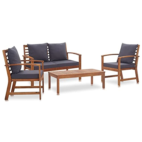 vidaXL Legno Massello di Acacia Set Divani da Giardino 4 pz con Cuscini Robusto Elegante Rustico Sofa Sedie Tavolino Arredi per Esterni Naturale