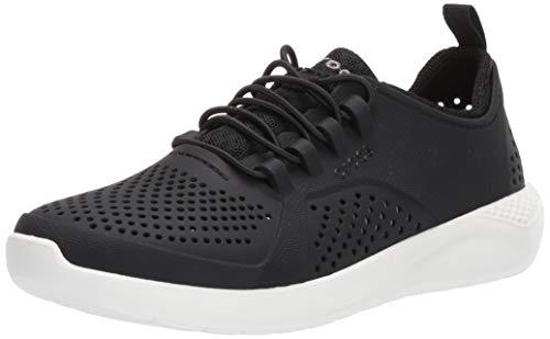Crocs unisex child Literide Pacer Sneaker, Black/White, 6 Big Kid US