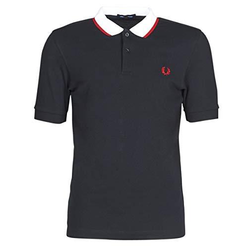 Fred Perry Herren Contrast Tipped Polo Shirt Poloshirt, Schwarz (Black 102), Large (Herstellergröße: L)