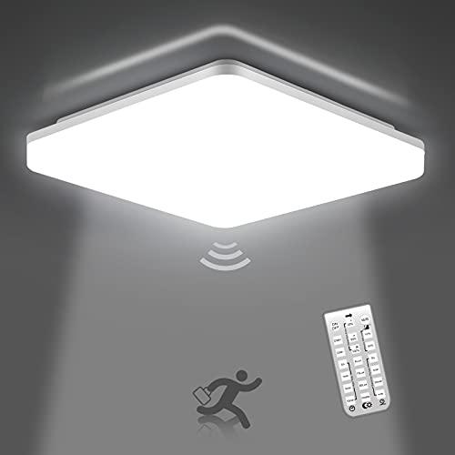 Oeegoo Plafoniera a LED con Sensore di Movimento, 18W 1800Lm, Lampada da Soffitto Quadrata, IP54 Impermeabile Luce per bagno, Corridoio, Balcone, Cantina, Scale, Garage, Bianca Neutra 4000K