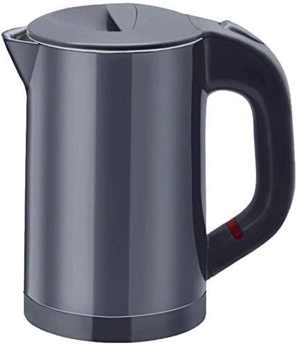 MMWYC Hervidor eléctrico de acero inoxidable 304, 800 W, 0,6 L, apagado automático, protección antiseco, negro, 150 x 100 x 175 mm (color, gris), negro (color: gris)