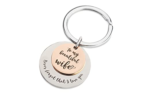 Kate Rossi Gift Keychain for Wife – I Love You Gifts For Her – Gifts For Wedding Anniversary – Wife Birthday Gifts From Husband