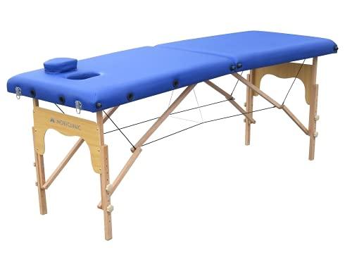 Mobiclinic, Camilla de masaje Plegable, CM-01 Basic, Mesa de Masaje, Camilla de masaje profesional, portátil, madera, 2 cuerpos, Marca Española, Regulable, 180x60 cm, Azul