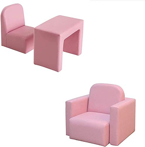 Kids Sofa Multifunctional 2 in 1 PVC Toddler Armchair Sofa with Compact Design Padded Sofa Chair Table Set for Girls & Boys No-Assembly (18 months-6 years old) (Pink)