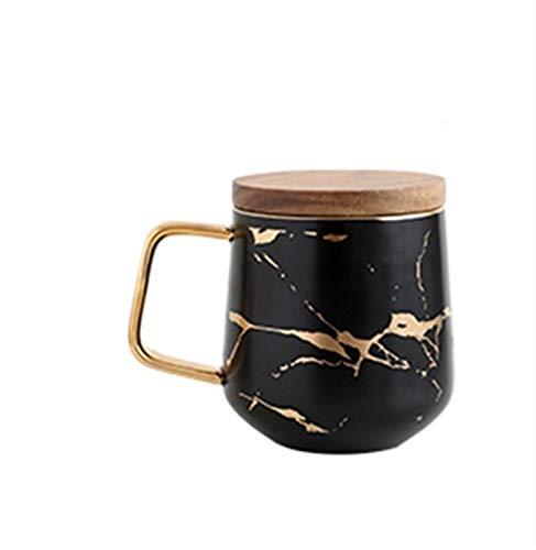 ZZLLFF Tazas de café de cerámica de mármol nórdico de Lujo condensado café Taza de café café Desayuno Leche Tazas de Leche platillo Traje con Cuchara de Plato Conjunto ins (Color : 400ML2)