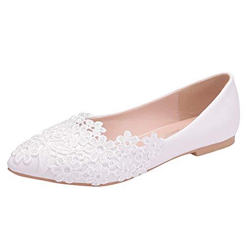 Übergroße Hochzeitsschuhe für Frauen, Damen Weiß Blumen Lace Ballerina Flache Geschlossene Zehe Braut Hochzeit Schuhe,Dorical Pointed Toe Zehen Elegant Flache Brautschuhe 34-43 EU(Weiß,41 EU)