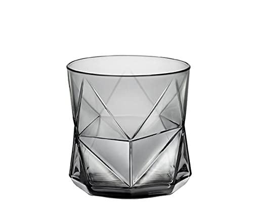 shiqi Color Creativo de Cristal para el hogar Resistente al Calor Taza de Agua Taza de Agua Jugo de Drenaje Personalidad Whisky Cerveza Vino Vidrio Gris 50jb033 (Color : Grey)