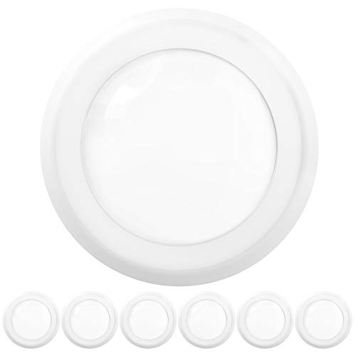 Sunco Lighting 6 Pack 5 Inch / 6 Inch Flush Mount Disk LED Downlight, 15W=100W, 5000K Daylight, 1050LM, Dimmable, Hardwire 4/6' Junction Box, Recessed Retrofit Ceiling Fixture