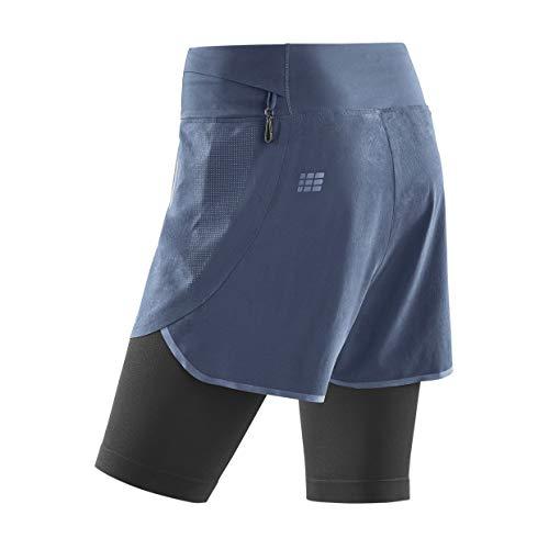 CEP - Run 2IN1 Shorts 3.0 für Damen   Kurze Sporthose mit Kompression in grau/schwarz   Größe IV