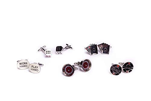 CASINO CONNECTION - Manschettenknöpfe Set (5 Paar) in Schwarz, Rot, Weiß, Silber, das Geschenk für Männer