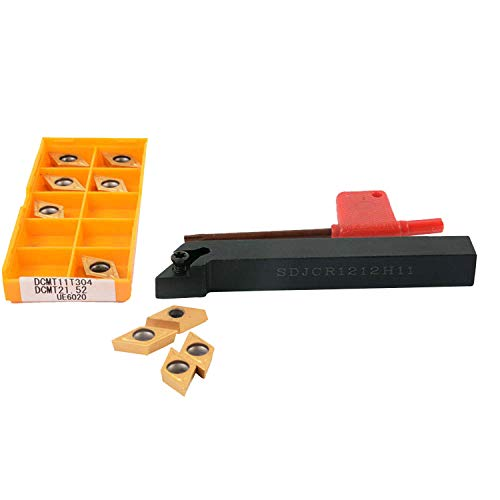 1 x SDJCR1212H11 CNC-Drehwerkzeug-Halter 1 x T15 Schraubenschlüssel 10 Stück DCMT21.52 UE6020 / DCMT11T304 UE6020 Hartmetall-Einsätze