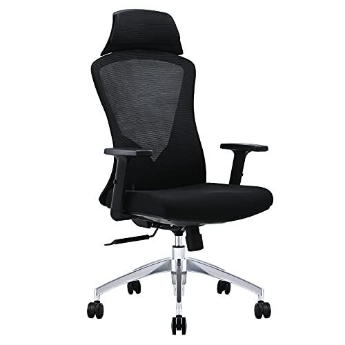 VONLUCE Ergonomisch Bürostuhl Schreibtischstuhl Mesh Computerstuhl Chefsessel mit verstellbaren Armen und Netzrückenstütze für Zuhause und Büro (Schwarz)