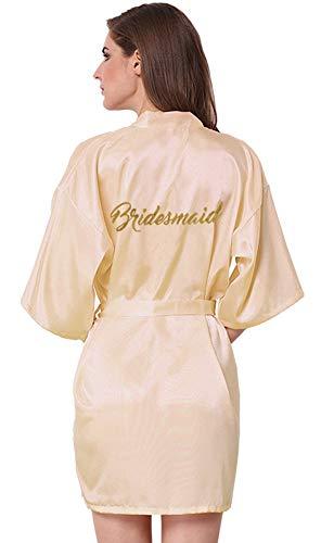 Joytton Satin-Kimono, Hochzeit, Party, Bademantel mit Gold-Glitzer - Beige - X-Large (Büste 99/109 cm/US 8/12)