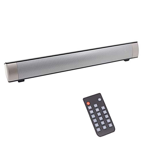 Computer Speakers, Wired & Wireless Bluetooth Sound Bar with Remote Control, USB Powered Computer Speaker for Phones/Tablets/PC/Desktop Projector[RCA, AUX, TF Card] (Silver)