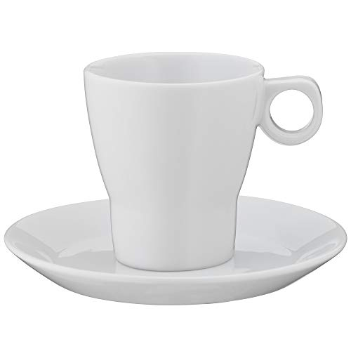 WMF Barista Café créme Tasse 150 ml, Kaffeetasse mit Untertasse, Kaffeeglas, Porzellan, spülmaschinengeeignet