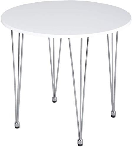MEUBLE COSY Table de Salle à Manger Table Basse Ronde Simple et Moderne avec Pieds en métal chromé, Blanc Table salle à manger, /80X80X73cm